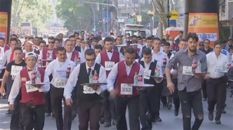 Fifteen Waiter Running The Marathon by Waiters Race To Be Crowned Fastest Server In Argentina