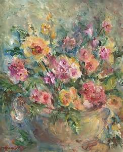 Shower Curtain Flowers Floral Painting Painting By Mary Wolf