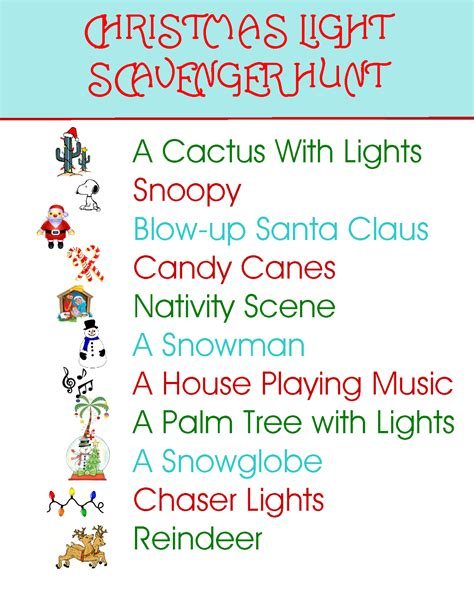 printable christmas light scavenger hunt cookies and crafts for sandy hook southwestern style