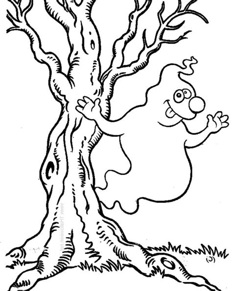 haunted tree coloring page ghost free colouring pages
