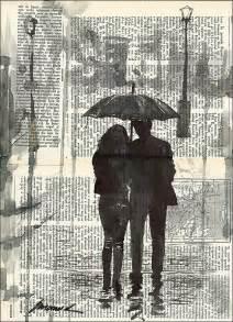 original ink drawing sketch book collage love couple rain