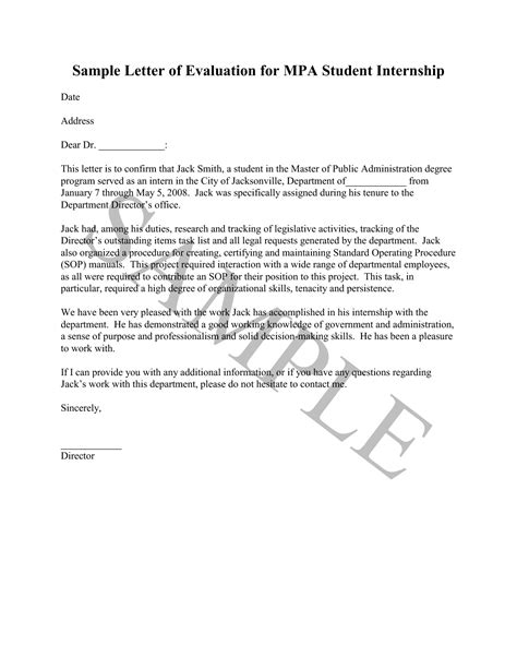 Sle Letter Of Evaluation For Student Internship Evaluation Letter Sle The Best Letter Sle