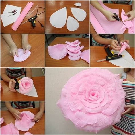 How To Make Oversized Paper Flowers - diy crepe paper flower pictures photos and images