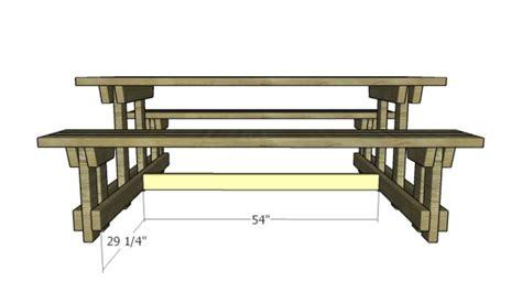 picnic table  detached benches plans myoutdoorplans