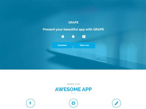 Grape Landing Page Bootstrap Free Template Bootstrap App Landing Page Template