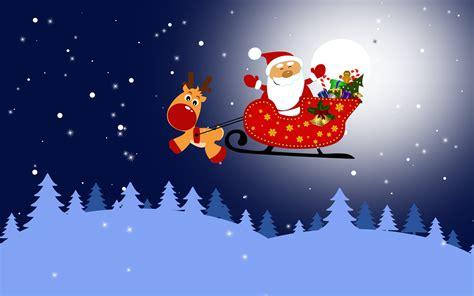 christmas wallpaper rudolph santa in his sleigh and rudolph wallpaper