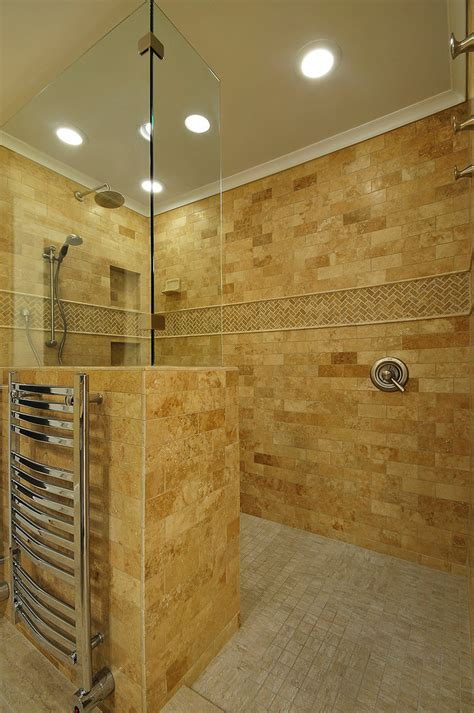 With Shower by Doorless Walk In Shower Bathroom With