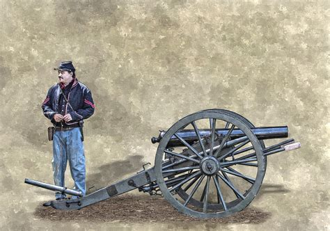 civil war union artillery corporal with cannon digital art