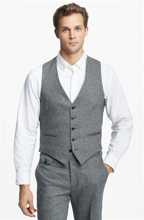 light grey vest and billy cbell herringbone wool and vest in