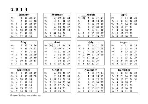 2014 Calendar With Week Numbers 2014 Yearly Calendar With Week Numbers Excel Autos Post