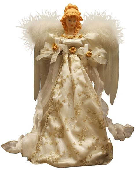 christmas decorations 14 quot ivory and gold angel tree topper