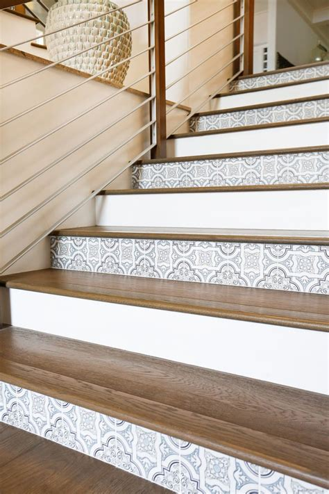 wood plank tile on staircase with white painted railings ideas project san clemente nice woods and woodworking plans
