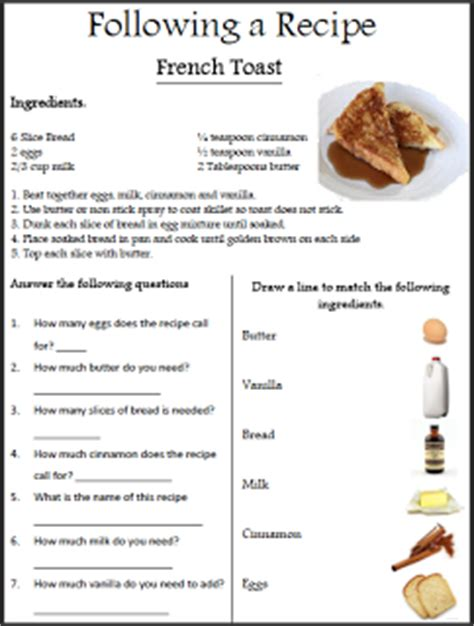 printable restaurant recipes 10 pack practice worksheets will need to use this in