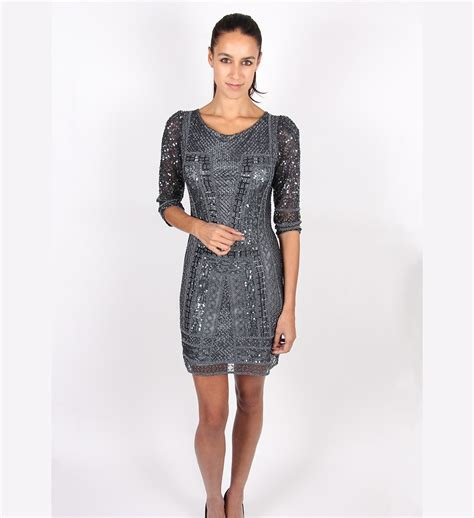 Dress Alila 1 scala sleeved charcoal sequin dress alila