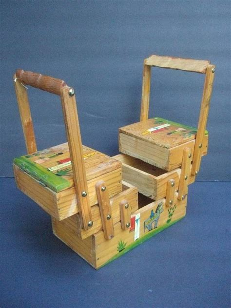Handmade Wood Boxes For Sale - handmade wood folk decorative sewing box c 1970 for