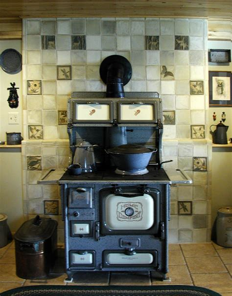 Kitchen Backdrops dewitt wood stove stoneware tile