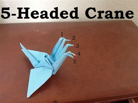 Three Headed Origami - origami 5 headed crane