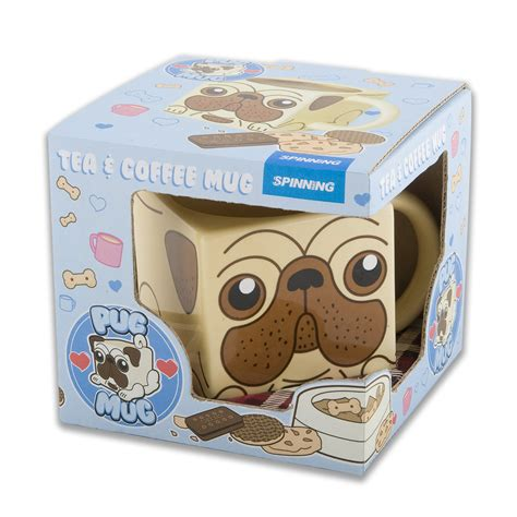 pug mug new pug square ceramic mug novelty coffee cup boxed gift shaped puppy pet ebay