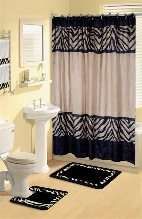 Bathroom Rug And Towel Sets Modern Zebra Safari Animal Print 17 Pc Bath Rug Shower Curtains Hooks Towel Set Ebay