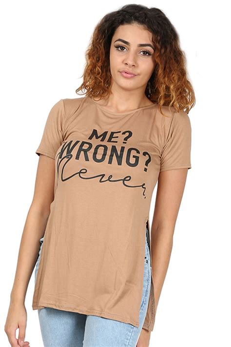 Dress Tunik Sogan Selling womens printed slogan logo side split cutout tunic dress top t shirt ebay