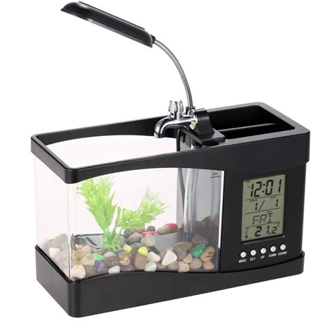 Usb Desktop Aquarium Mini Fish Tank Akuarium Mini With Lcd Display white black electronic usb mini aquarium desktop mini fish