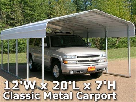 12 X 20 Carport 12 w x 20 l x 7 h classic metal carport