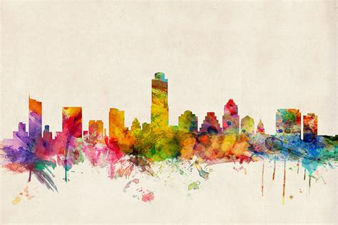 austin texas skyline digital art by michael tompsett