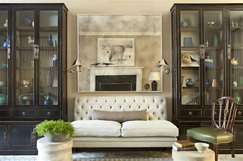 china cabinet in living room tufted settee transitional living room jeffrey alan