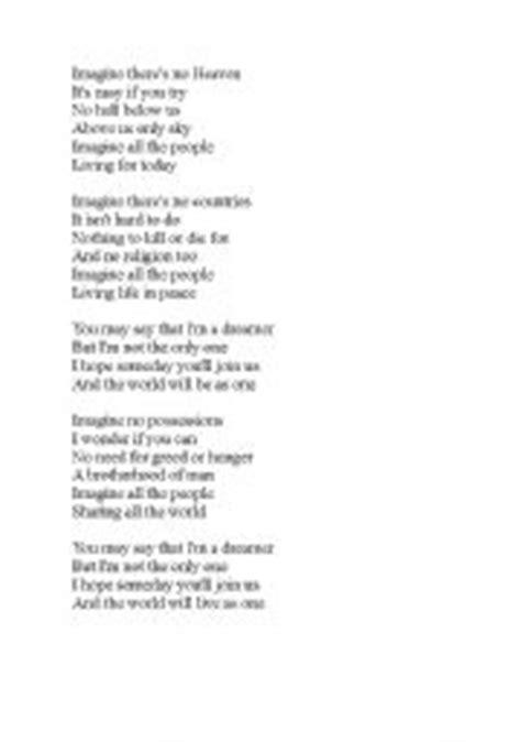 printable lyrics imagine english teaching worksheets imagine john lennon
