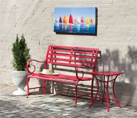 red metal bench red metal garden bench outdoor benches patio and furniture