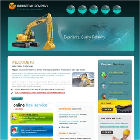 industrial template industrial company template free website templates in css