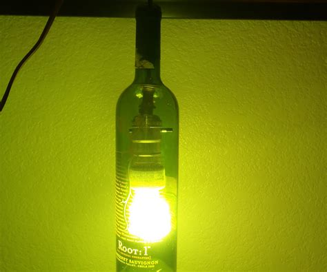 a l out of a wine bottle a hanging light out of a wine bottle