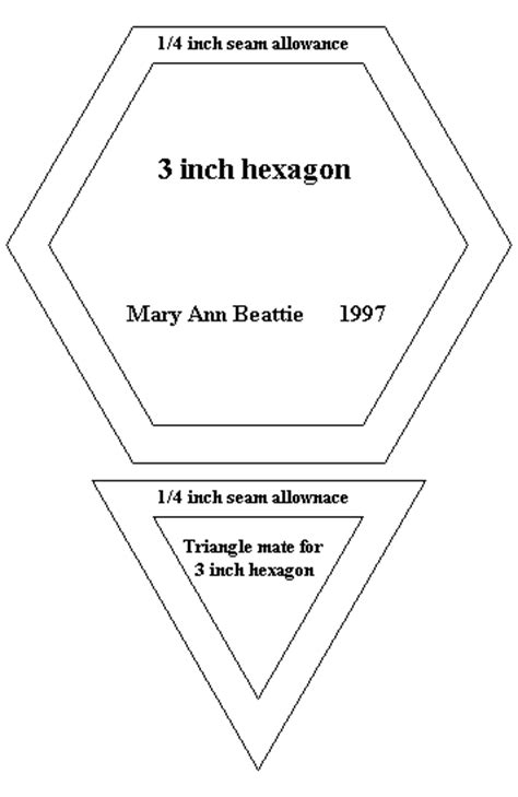 3 inch hexagon template pattern for quilting 3 hexagon and triangle mate