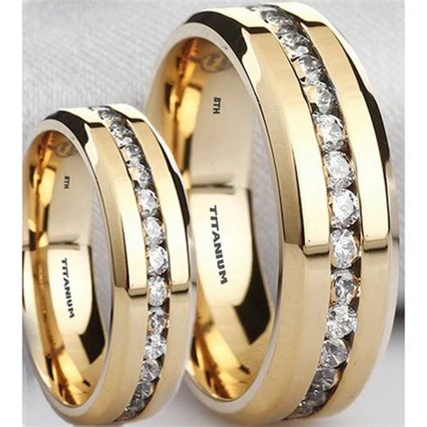 matching   titanium simulated diamonds ring set