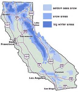 where does it snow in california map