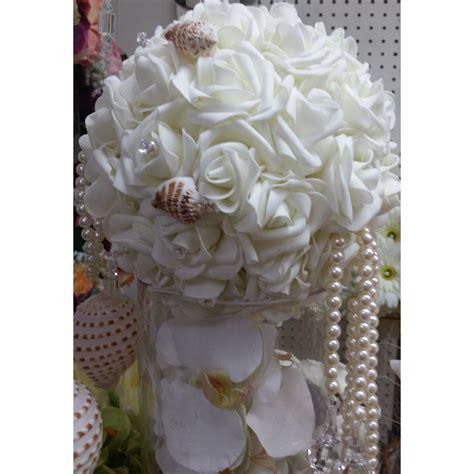 Wedding Aisle Marker Decoration by White Wedding Pomander 5 Pomander Flower Balls Flower