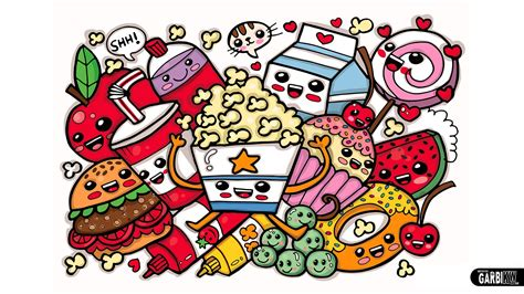 Simple House Drawing Cute Graffiti Doodle Coloring Cute Food Easy And Kawaii