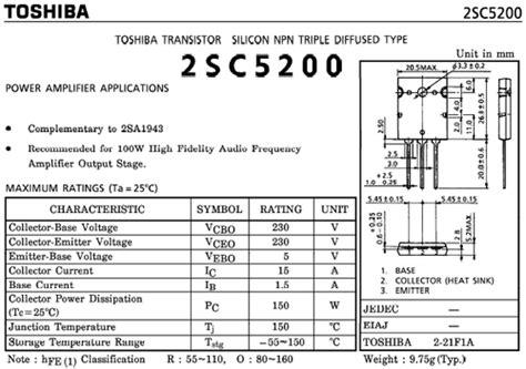 transistor c5200 circuit c5200 transistor data 28 images splendide c5200 datasheet pdf c5200 datasheet pdf compare
