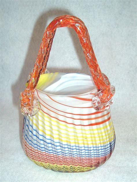 murano style blown glass purse shape vase orange yellow