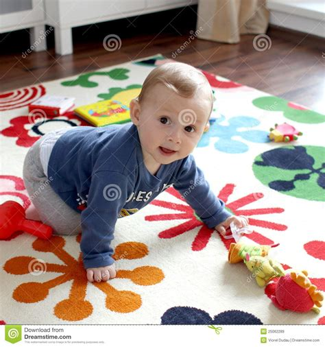 Boys Mat by Baby Boy On Play Mat Royalty Free Stock Images
