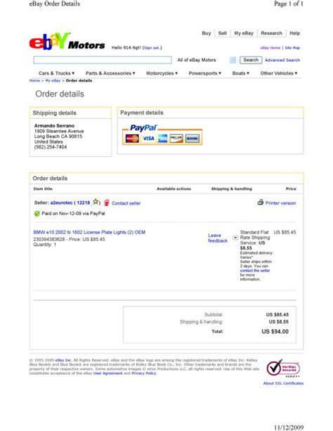 ebay guest login hella car number identification ebay nov112009 85 order
