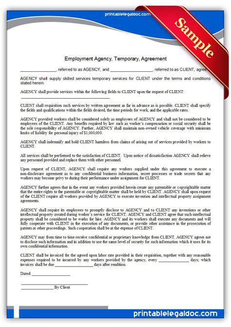 free printable employment agency temporary agreement
