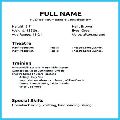 beginner acting resume template actor resume sle presents how you will make your