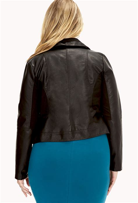 Found A City Chic Leather Coat by Forever 21 Plus Size City Chic Faux Leather Jacket In