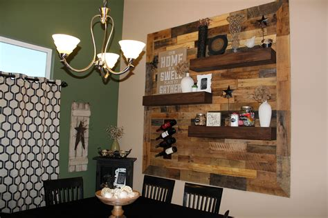 Dining Room Remodel Pallet Wall Floating Shelves | dining room remodel pallet wall floating shelves