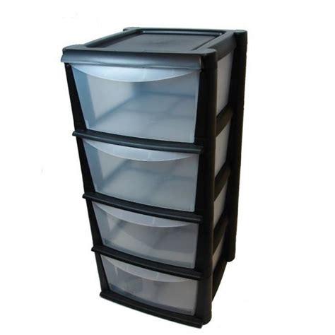 Unité de rangement en plastique avec 4 tiroirs profonds
