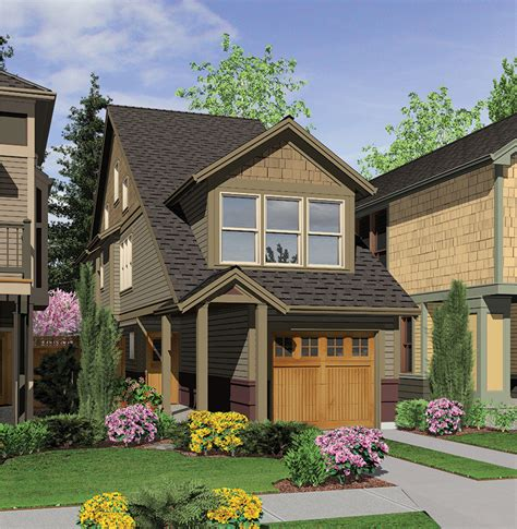 A Winner In Any Neighborhood 6988am Craftsman Narrow Lot House Plans With Drive Garage