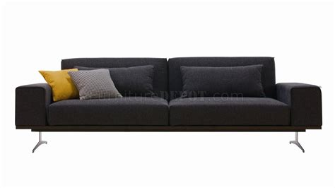 Charcoal Grey Fabric Modern Sofa Bed W Stainless Steel Base Modern Grey Sofa