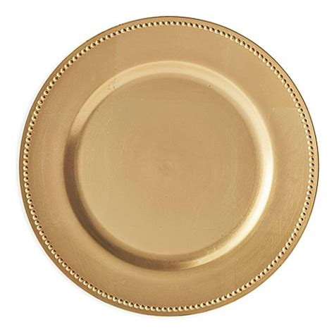gold beaded charger plates buy beaded charger plates in gold set of 6 from bed bath