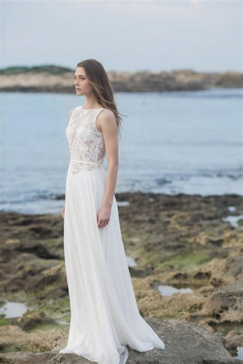 beach wedding dresses guest 2016 beach sheer lace silk chiffon wedding dress new 2016